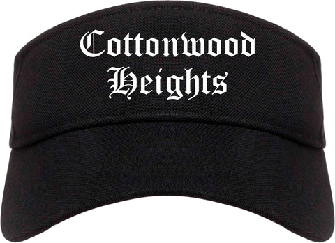 Cottonwood Heights Utah UT Old English Mens Visor Cap Hat Black