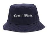 Council Bluffs Iowa IA Old English Mens Bucket Hat Navy Blue