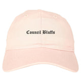 Council Bluffs Iowa IA Old English Mens Dad Hat Baseball Cap Pink