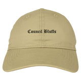 Council Bluffs Iowa IA Old English Mens Dad Hat Baseball Cap Tan