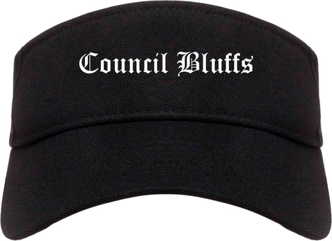 Council Bluffs Iowa IA Old English Mens Visor Cap Hat Black
