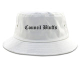 Council Bluffs Iowa IA Old English Mens Bucket Hat White