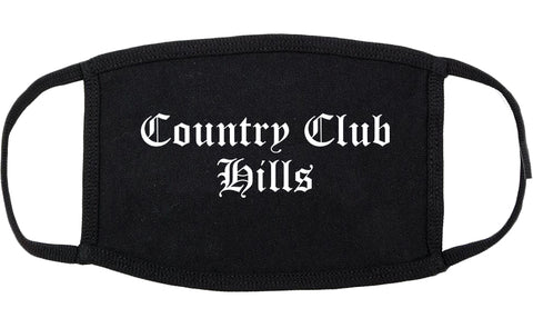 Country Club Hills Illinois IL Old English Cotton Face Mask Black