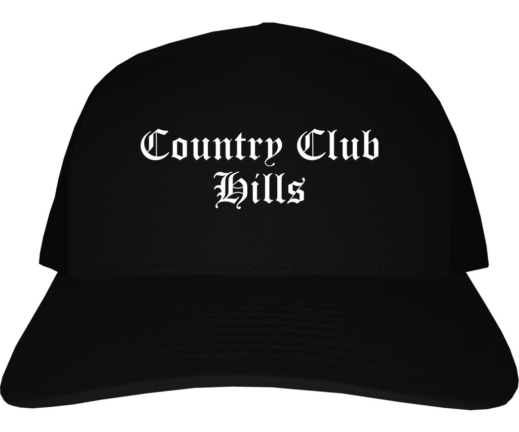 Country Club Hills Illinois IL Old English Mens Trucker Hat Cap Black