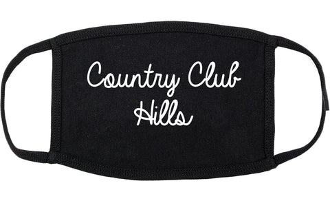 Country Club Hills Illinois IL Script Cotton Face Mask Black