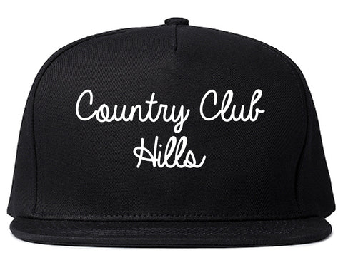 Country Club Hills Illinois IL Script Mens Snapback Hat Black