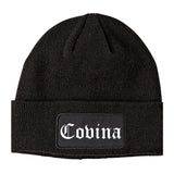 Covina California CA Old English Mens Knit Beanie Hat Cap Black