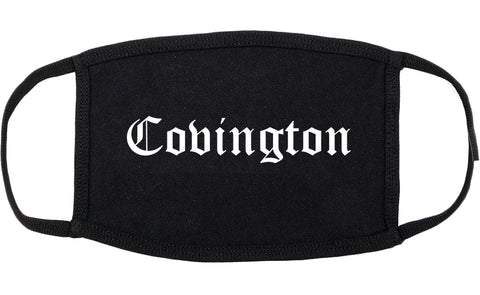 Covington Louisiana LA Old English Cotton Face Mask Black