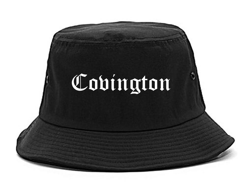 Covington Louisiana LA Old English Mens Bucket Hat Black