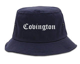 Covington Louisiana LA Old English Mens Bucket Hat Navy Blue