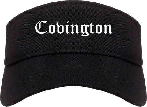 Covington Louisiana LA Old English Mens Visor Cap Hat Black