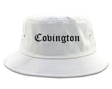 Covington Louisiana LA Old English Mens Bucket Hat White