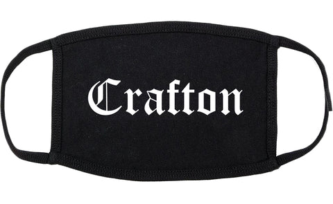 Crafton Pennsylvania PA Old English Cotton Face Mask Black