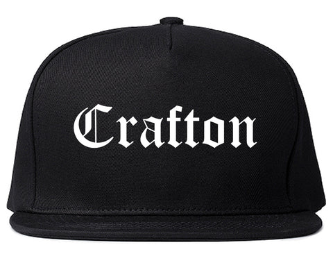 Crafton Pennsylvania PA Old English Mens Snapback Hat Black