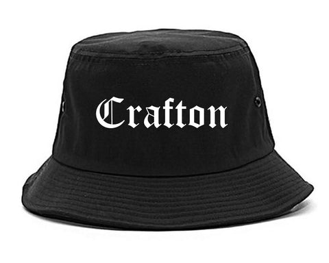Crafton Pennsylvania PA Old English Mens Bucket Hat Black