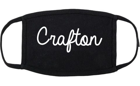 Crafton Pennsylvania PA Script Cotton Face Mask Black