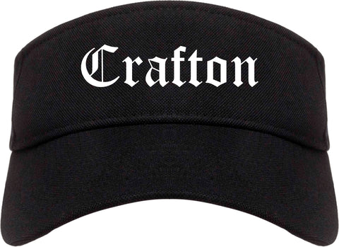 Crafton Pennsylvania PA Old English Mens Visor Cap Hat Black