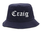 Craig Colorado CO Old English Mens Bucket Hat Navy Blue