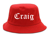 Craig Colorado CO Old English Mens Bucket Hat Red