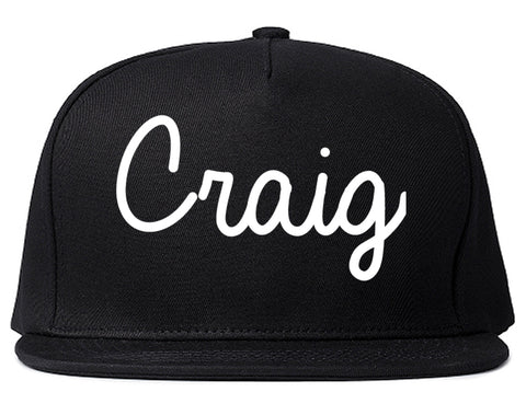 Craig Colorado CO Script Mens Snapback Hat Black