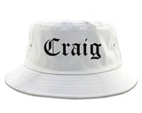 Craig Colorado CO Old English Mens Bucket Hat White
