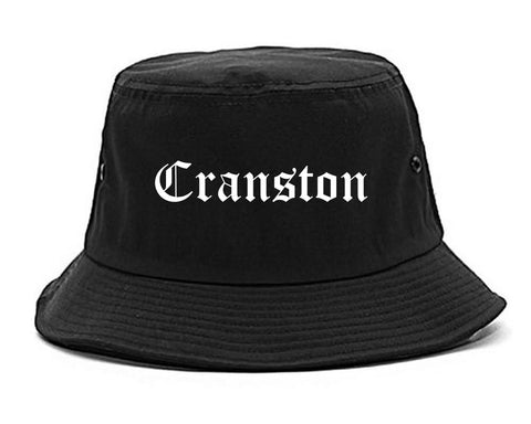 Cranston Rhode Island RI Old English Mens Bucket Hat Black
