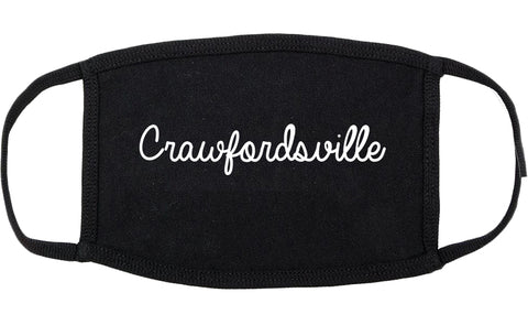 Crawfordsville Indiana IN Script Cotton Face Mask Black