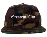 Crescent City California CA Old English Mens Snapback Hat Army Camo