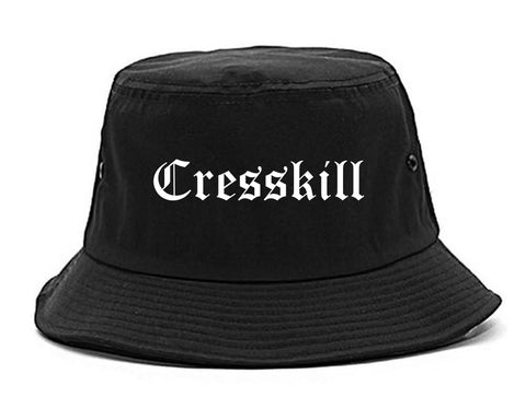 Cresskill New Jersey NJ Old English Mens Bucket Hat Black