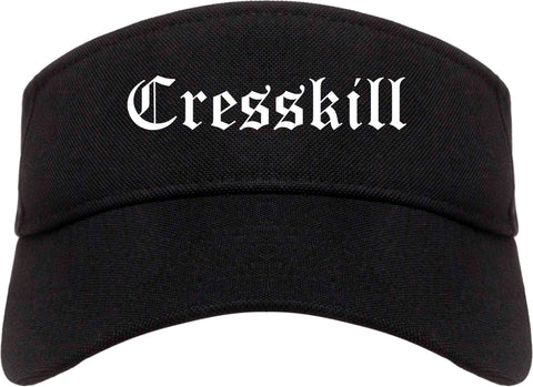 Cresskill New Jersey NJ Old English Mens Visor Cap Hat Black