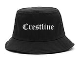 Crestline Ohio OH Old English Mens Bucket Hat Black