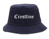 Crestline Ohio OH Old English Mens Bucket Hat Navy Blue