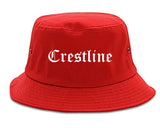 Crestline Ohio OH Old English Mens Bucket Hat Red