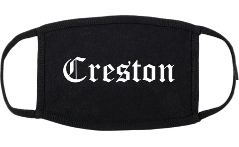 Creston Iowa IA Old English Cotton Face Mask Black