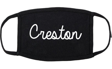 Creston Iowa IA Script Cotton Face Mask Black