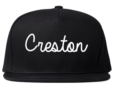 Creston Iowa IA Script Mens Snapback Hat Black