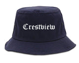Crestview Florida FL Old English Mens Bucket Hat Navy Blue