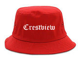 Crestview Florida FL Old English Mens Bucket Hat Red