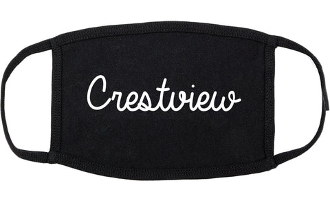 Crestview Florida FL Script Cotton Face Mask Black