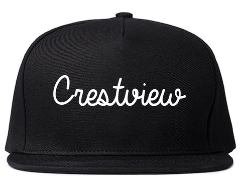 Crestview Florida FL Script Mens Snapback Hat Black