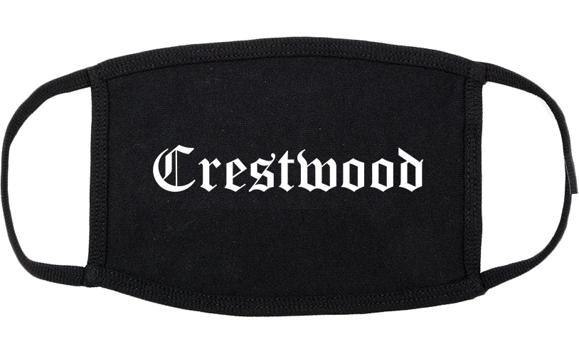 Crestwood Illinois IL Old English Cotton Face Mask Black