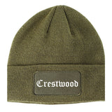 Crestwood Illinois IL Old English Mens Knit Beanie Hat Cap Olive Green