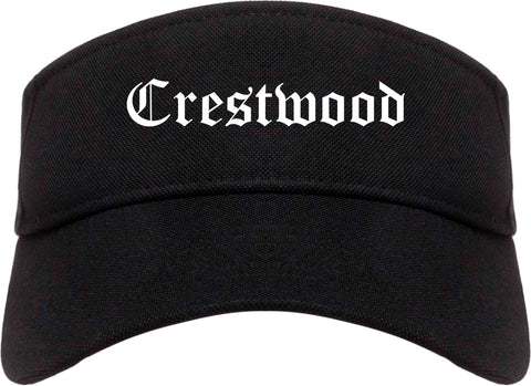 Crestwood Illinois IL Old English Mens Visor Cap Hat Black