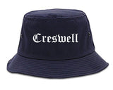 Creswell Oregon OR Old English Mens Bucket Hat Navy Blue