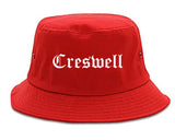 Creswell Oregon OR Old English Mens Bucket Hat Red