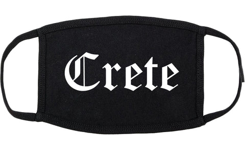 Crete Nebraska NE Old English Cotton Face Mask Black