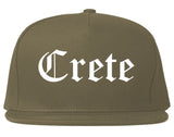 Crete Nebraska NE Old English Mens Snapback Hat Grey