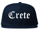 Crete Nebraska NE Old English Mens Snapback Hat Navy Blue
