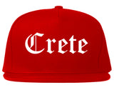 Crete Nebraska NE Old English Mens Snapback Hat Red