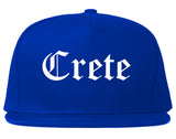 Crete Nebraska NE Old English Mens Snapback Hat Royal Blue